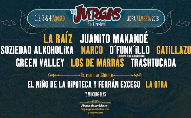 La Raíz, Juanito Makandé, Green Valley, O'Funk'Illo y Gatillazo, en el cartel del The Juergas Rock