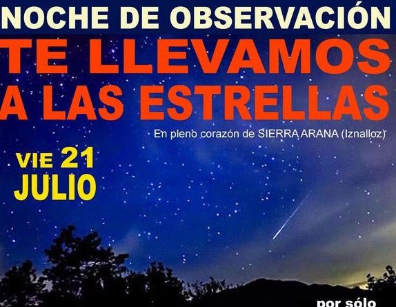 'Te llevamos a las estrellas', velada de observación de perseidas, lluvia de estrellas, desde Sierra Arana