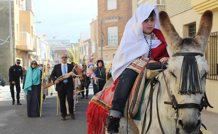 Procesión de la Borriquita con los niños hebreos y Nuestro Padre Jesús de la Oración del Huerto