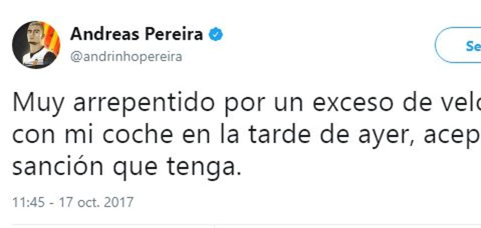 Pereira es cazado a 148 km/h por una calle de Valencia y sale a pedir perdón