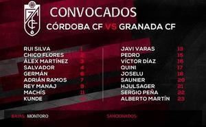Saunier y Peña, novedades en la convocatoria del Granada CF para viajar a Córdoba