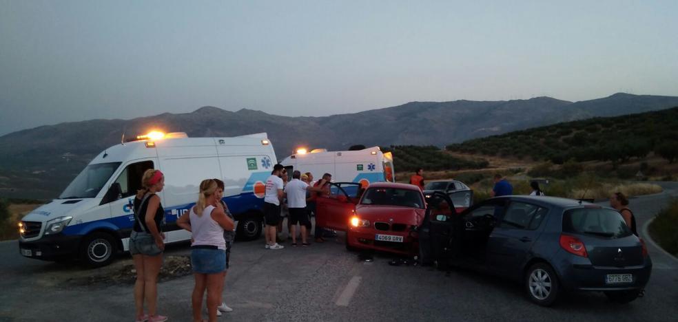 Cuatro heridos en la colisión entre dos turismos en la carretera de Ventorros de San José