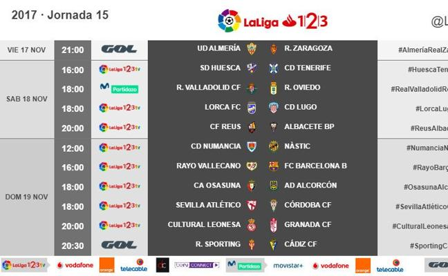El Almería-Zaragoza abrirá el día 17 la jornada 15