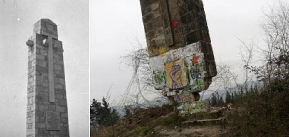 Cuatro heridos en el derribo de una cruz franquista en el País Vasco