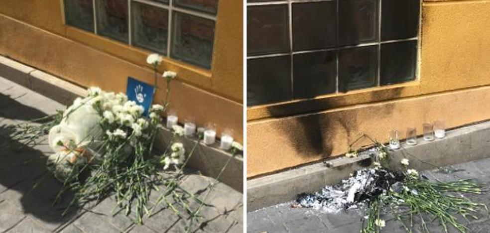 Unos desconocidos prenden fuego a la ofrenda del homenaje a Miguel Ángel Blanco en Getafe