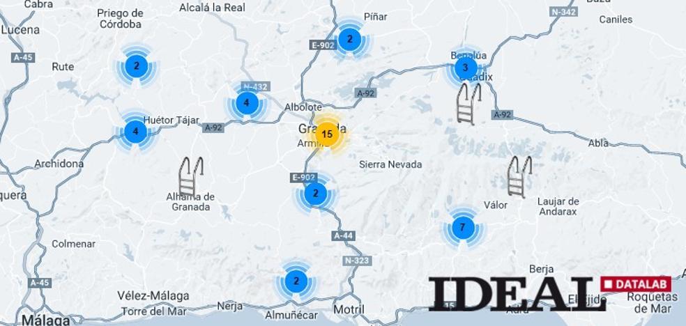 El mapa con todas las piscinas públicas de la provincia de Granada