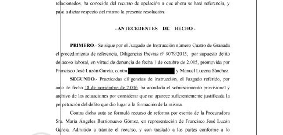 La Audiencia también descarta «acoso laboral» al exalcalde de Cogollos Vega