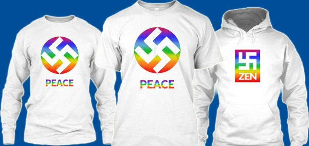 Diseñan camisetas con esvásticas transformadas en símbolos de paz y amor