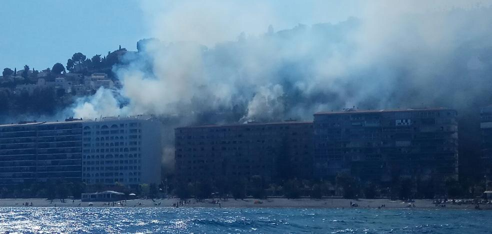 Incendio en un pinar junto a la playa de Velilla