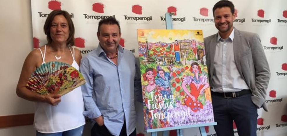 El artista Miguel Roa pone color a la feria de Torreperogil