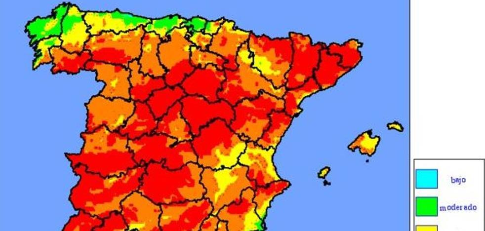 Riesgo 'muy alto' de incendio en casi toda España por las altas temperaturas