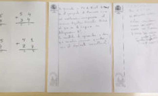 «Estos son los exámenes del primer chaval al que condené a aprender a leer y escribir 'por lo criminal'»