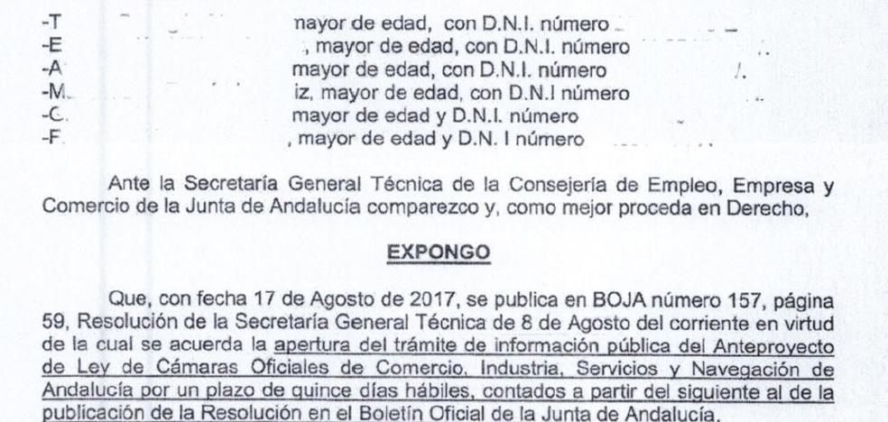 Empleados de la Cámara de Comercio de Jaén recuerdan a la Junta que llevan 40 nóminas sin cobrar y siguen trabajando