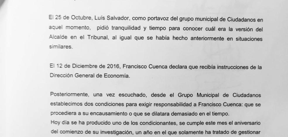 Ciudadanos y populares presentan las firmas para reprobar a Cuenca