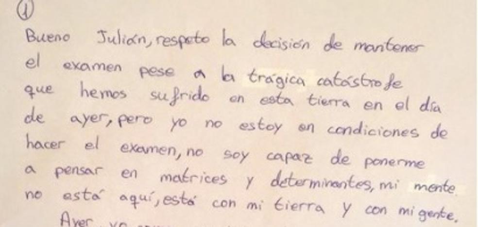"""La emotiva carta de un alumno a un profesor de Vigo que se negó a cancelar un examen tras los incendios: """"Antes de estudiante, soy persona"""""""