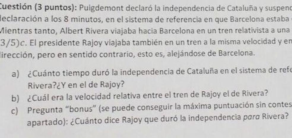 '¿Cuánto duró la independencia catalana?': la pregunta de un examen de Física de la Universidad de Sevilla