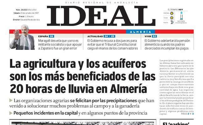 La agricultura y los acuíferos son los más beneficiados de las 20 horas de lluvia en Almería