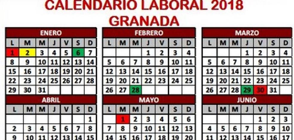 Descubre el calendario laboral de Granada para 2018