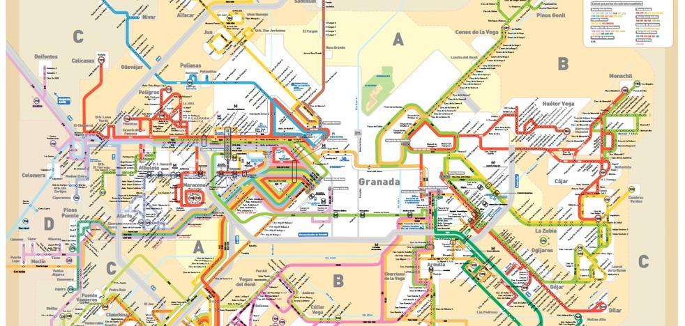El plano completo de las líneas de autobuses metropolitanos en Granada