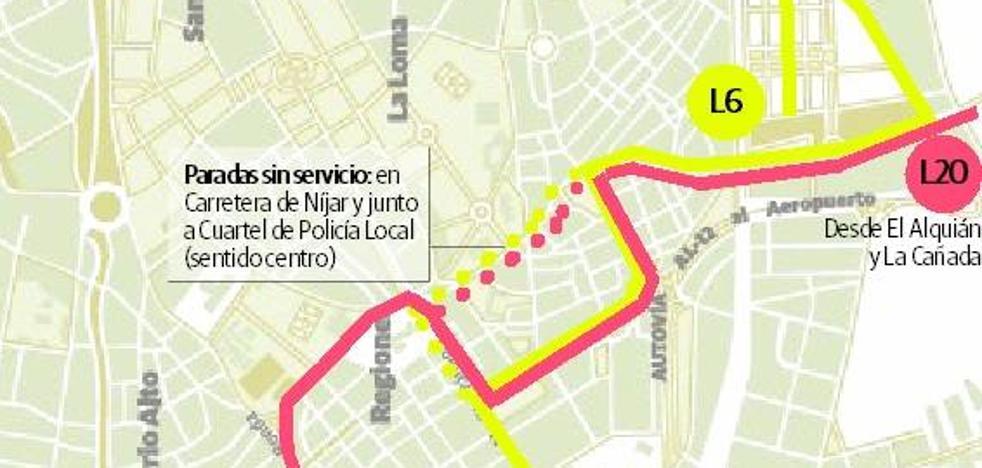 Cambios desde hoy en las líneas 6 y 20 del bus urbano de Almería