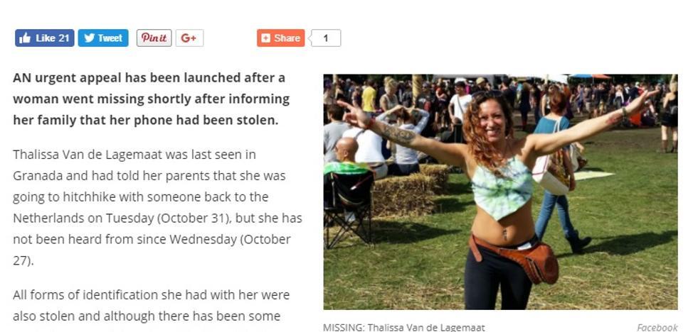 La extraña desaparición de una holandesa vista la última vez en Granada y con su Facebook activo