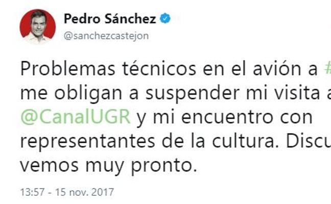 Un problema técnico en el avión obliga a suspender la visita de Pedro Sánchez a Granada