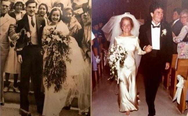 El genial vestido de novia que han llevado 4 mujeres de una misma familia