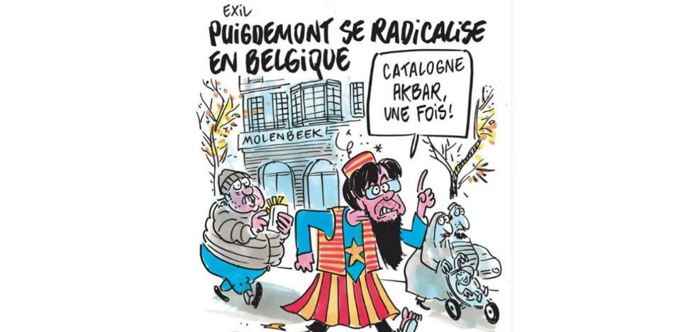 Charlie Hebdo dibuja a Puigdemont como un yihadista