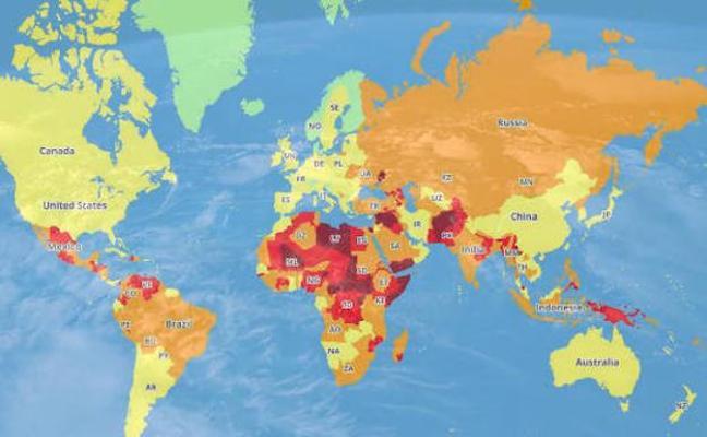 El mapa de los países más peligrosos para viajar