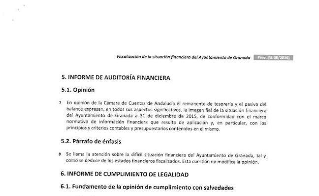 La Cámara de Cuentas alerta de que Granada incumplió todos los planes de ajuste en un lustro