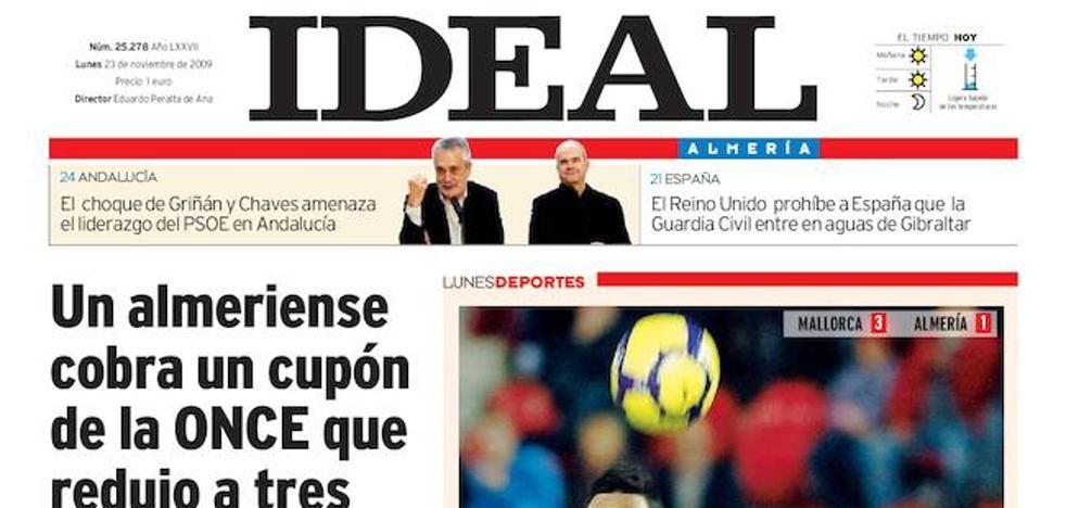 2009: Un almeriense cobra un cupón de la ONCE 'hecho bolitas'
