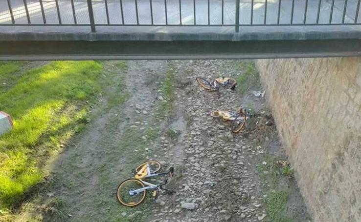 Bicicletas destrozadas y abandonadas en Granada