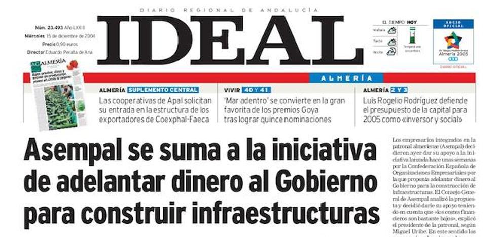2004: Asempal se suma a la iniciativa de adelantar dinero al Gobierno para construir infraestructuras