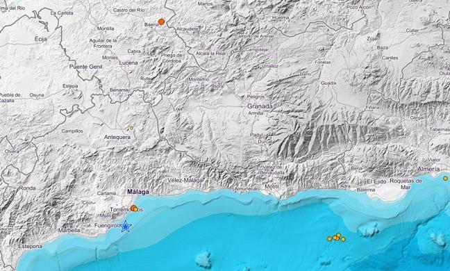 Tres terremotos sacuden Málaga y Córdoba