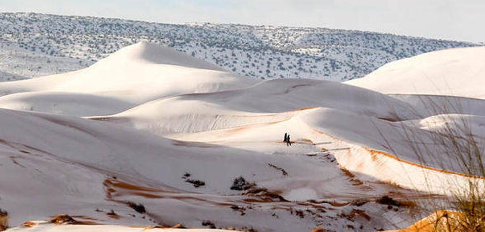Nieve en el Sahara: la hipnótica belleza del famoso desierto de blanco