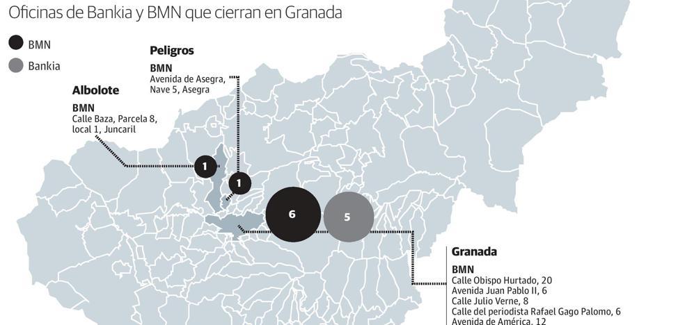 Las 14 sucursales que Bankia cerrará en Granada tras integrar a BMN, 11 de ellas en la capital