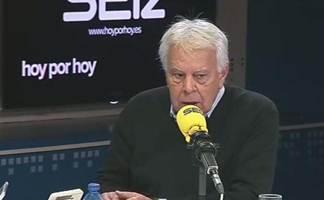 Felipe González no ve delito de rebelión en el 'procés'