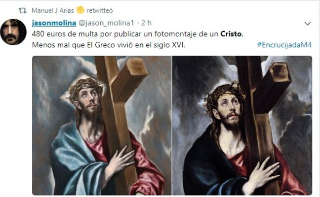 Apoyo masivo mundial en la Red al chico condenado por hacer un montaje de su cara con un Cristo