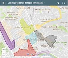 Conoce el mapa de las 10 zonas de tapas en Granada