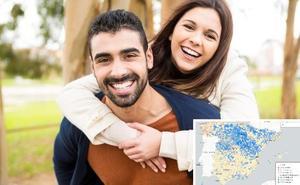 El mapa de las ciudades donde más se 'liga': ¿qué probabilidad tienes de encontrar pareja?