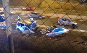 La Guardia Civil busca a dos fugados tras el accidente del vehículo kamikaze en la A-44 a la altura de Albolote