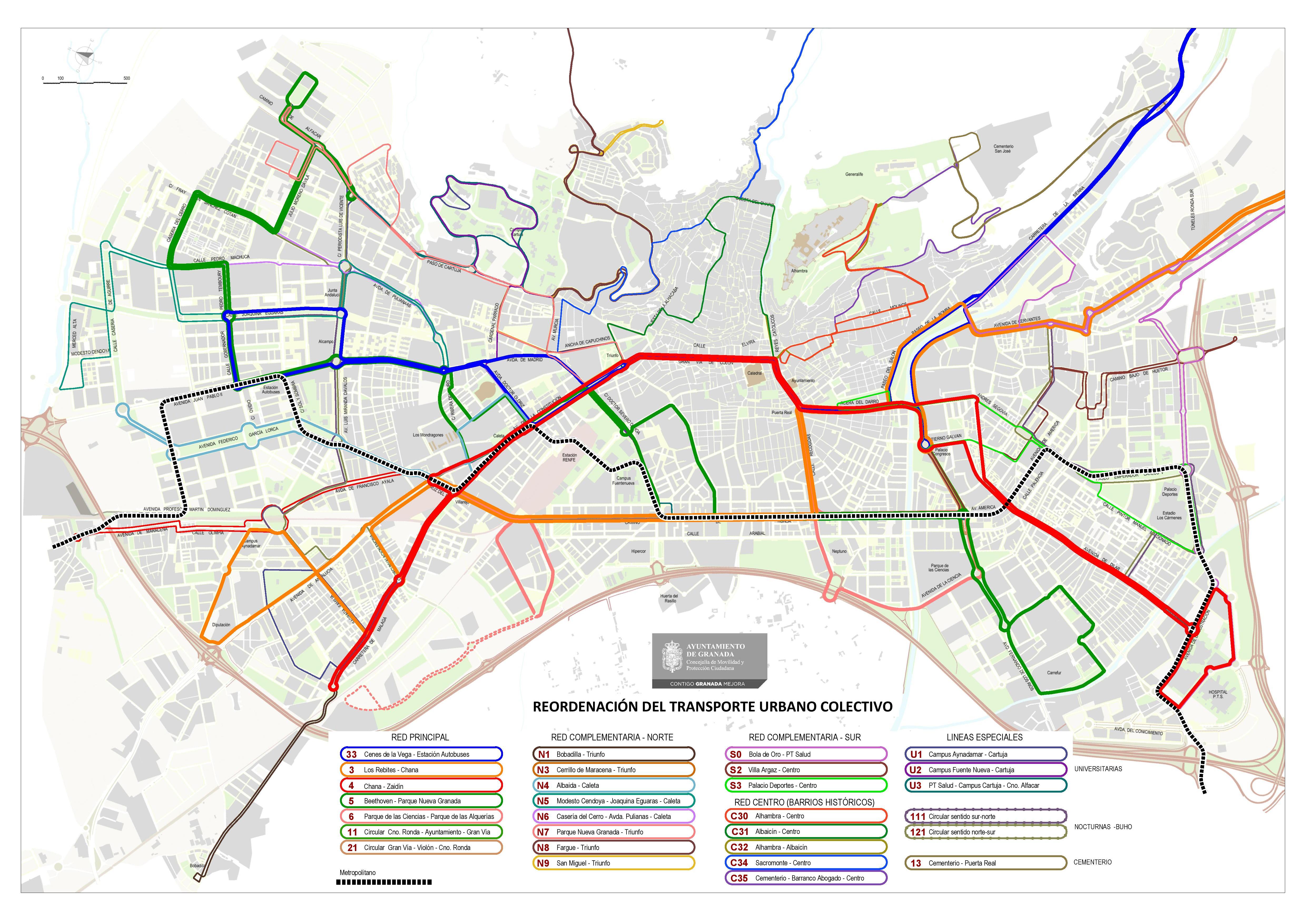 El nuevo mapa del transporte público en Granada