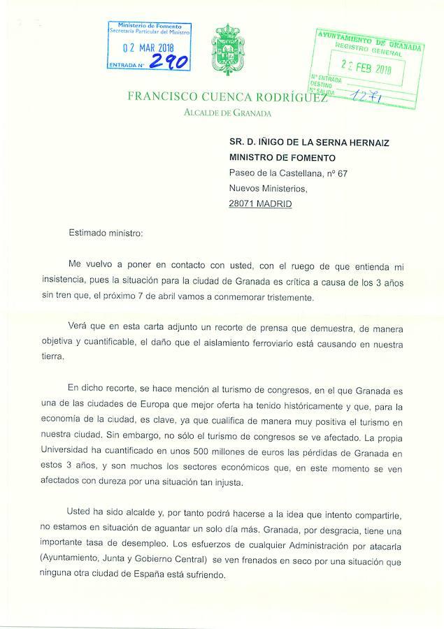 Las cartas entre el alcalde de Granada y el ministro de Fomento