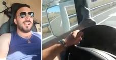 'Cazan' al camionero temerario que condujo con los pies en el salpicadero y lo subió a las redes