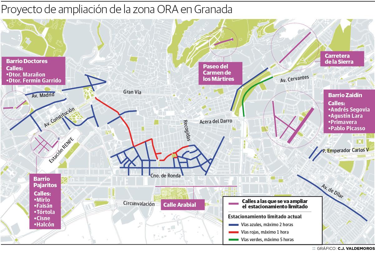 Proyecto de ampliación de la zona ORA en Granada
