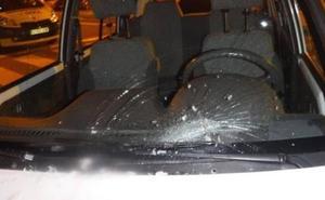 Una merluza congelada cae desde una casa y rompe la luna de un coche en Pamplona