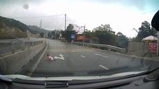 El increíble vídeo de un bebé cruzando a gatas la autovía