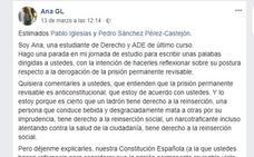 """La carta de una estudiante de Granada a Iglesias y Sánchez que da la vuelta a España: """"Su misión es protegernos"""""""