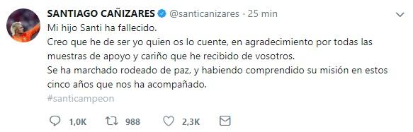 Las redes se vuelcan en apoyo a Santiago Cañizares tras el fallecimiento de su hijo
