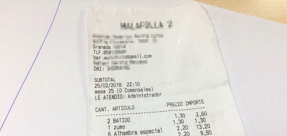 El insólito ticket 'malafollá' del bar de Granada que ha sido noticia en toda España